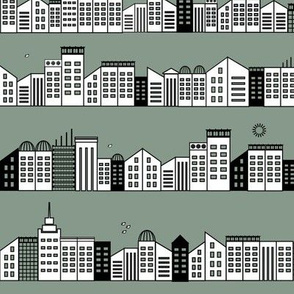 city buildings houses - jade smokey green