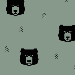 bear head geometric bears - jade smokey green