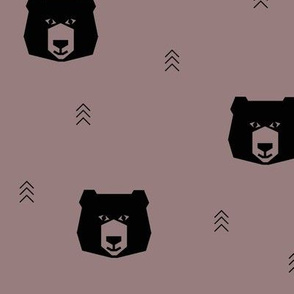 Bear head - geometric bear black on mauve