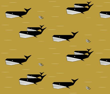 geometric whales - black and white on mustard, sea animals ocean fabric by sunny_afternoon on Spoonflower - custom fabric