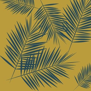 palm leaves - navy blue on mustard