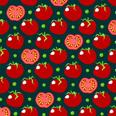 Pea'n'tomato - piselli e pomodoro - dark fabric by moirarae on Spoonflower - custom fabric