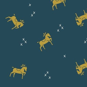 circus horses - mustard on navy blue