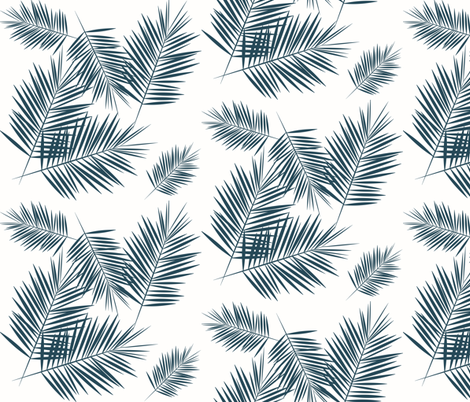 palm leaves - navy blue on white palm leaf tropical  fabric by sunny_afternoon on Spoonflower - custom fabric