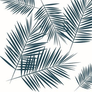 palm leaves - navy blue on white palm leaf tropical