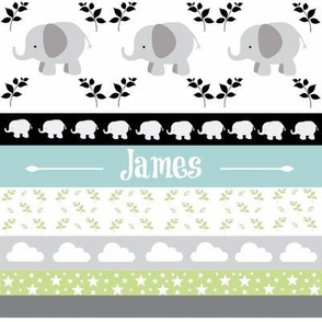 Gray Elephant YaYa quilt - gray blue mist-PERSONALIZED James