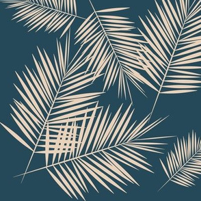 palm leaves - nude on navy blue