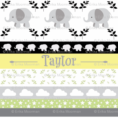 Gray Elephant YaYa quilt gray yellow-PERSONALIZED Taylor