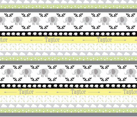 Gray Elephant YaYa quilt gray yellow-PERSONALIZED Taylor fabric by drapestudio on Spoonflower - custom fabric
