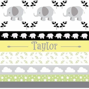 Gray Elephant YaYa quilt gray yellow-PERSONALIZED Taylor