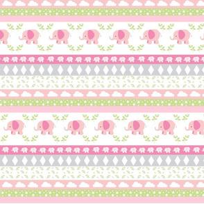 PinkElephant YaYa diamond quilt-pink green leaves