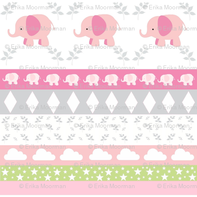 PinkElephant YaYa diamond quilt-pink gray leaves