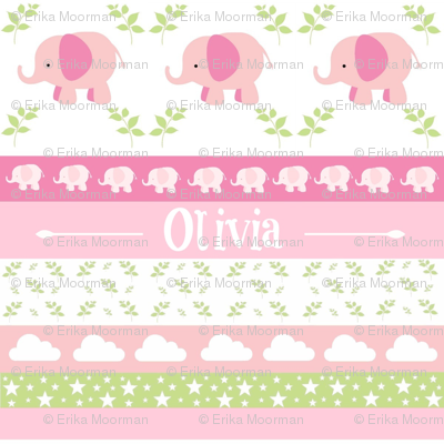 Pink Elephant YaYa diamond quilt-pink green leaves PERSONALIZED Olivia