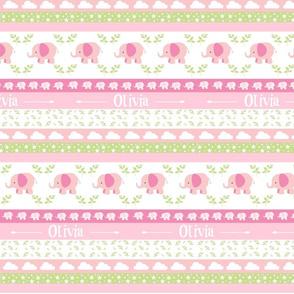 Pink Elephant YaYa diamond quilt-pink green leaves PERSONALIZED Olivia