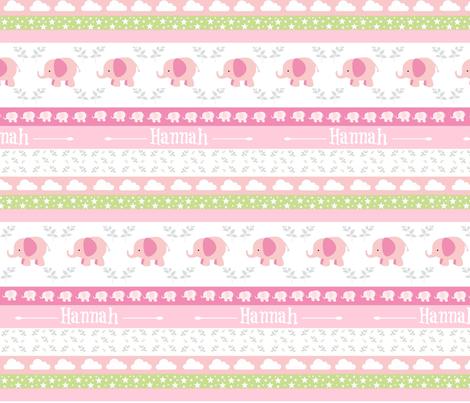 PinkElephant YaYa diamond quilt-pink gray leaves PERSONALIZED Hannah fabric by drapestudio on Spoonflower - custom fabric