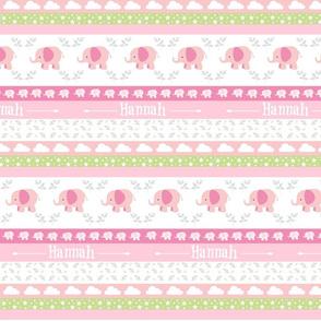 PinkElephant YaYa diamond quilt-pink gray leaves PERSONALIZED Hannah
