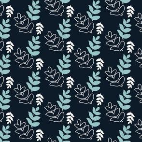 Dancing Leaves - Navy