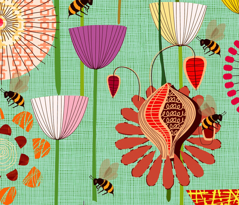 Where the Bees Fly (Large Scale) fabric by chicca_besso on Spoonflower - custom fabric