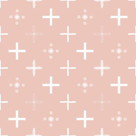 Small Plus White and Blush Pink fabric by angel_nicole on Spoonflower - custom fabric