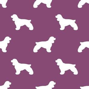 Cocker Spaniel silhouette fabric dog breeds amethyst