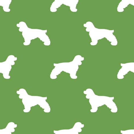 Cocker Spaniel silhouette fabric dog breeds asparagus fabric by petfriendly on Spoonflower - custom fabric