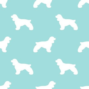 Cocker Spaniel silhouette fabric dog breeds blue tint
