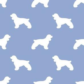 Cocker Spaniel silhouette fabric dog breeds cerulean