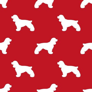 Cocker Spaniel silhouette fabric dog breeds fire red