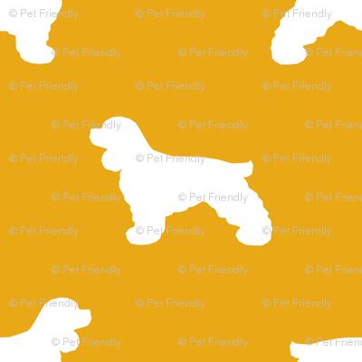 Cocker Spaniel silhouette fabric dog breeds goldenrod