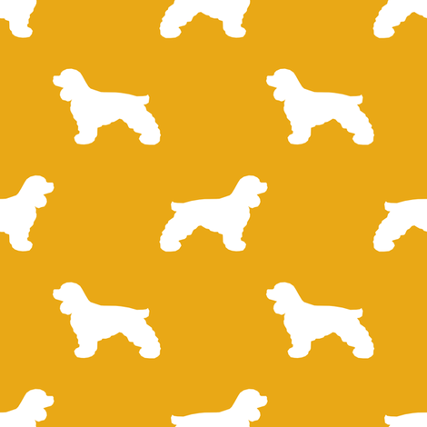 Cocker Spaniel silhouette fabric dog breeds goldenrod fabric by petfriendly on Spoonflower - custom fabric
