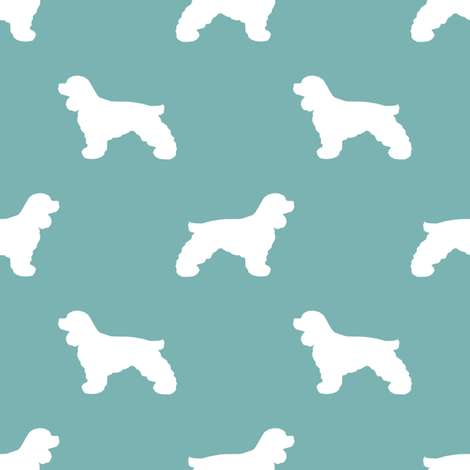 Cocker Spaniel silhouette fabric dog breeds gulf fabric by petfriendly on Spoonflower - custom fabric