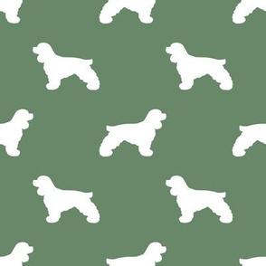 Cocker Spaniel silhouette fabric dog breeds medium green