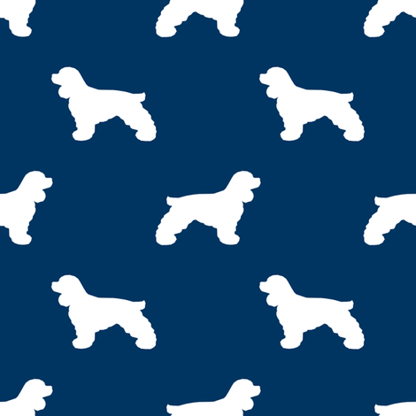 Cocker Spaniel silhouette fabric dog breeds navy fabric by petfriendly on Spoonflower - custom fabric