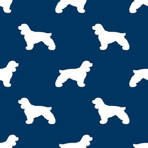 Cocker Spaniel silhouette fabric dog breeds navy