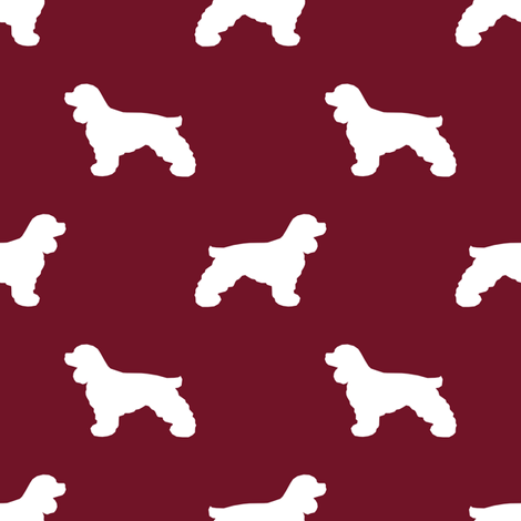 Cocker Spaniel silhouette fabric dog breeds ruby fabric by petfriendly on Spoonflower - custom fabric