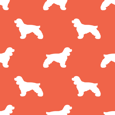 Cocker Spaniel silhouette fabric dog breeds scarlet fabric by petfriendly on Spoonflower - custom fabric