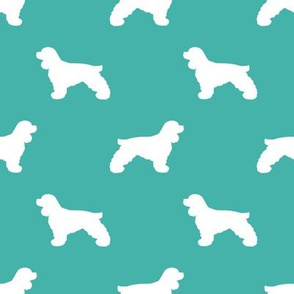 Cocker Spaniel silhouette fabric dog breeds turquoise