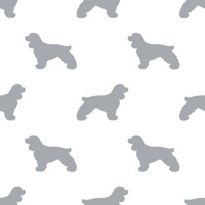 Cocker Spaniel silhouette fabric dog breeds white and grey