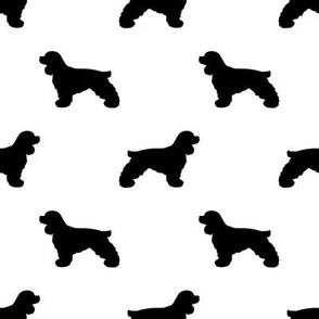 Cocker Spaniel silhouette fabric dog breeds white