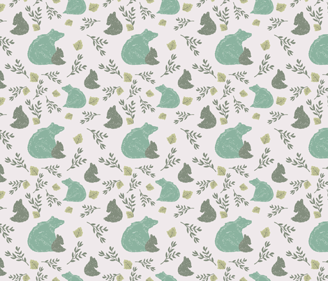 Woodland Momma Bear and Cub fabric by deniseanne on Spoonflower - custom fabric