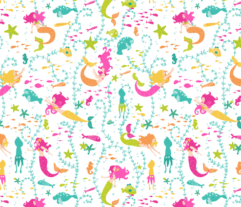 I'm really a Mermaid  fabric by hey_there_louise on Spoonflower - custom fabric