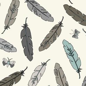 Feathers - Aqua, Ivory