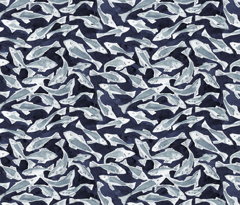 Watercolor fishes fabric by rebecca_reck_art on Spoonflower - custom fabric