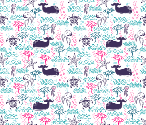 Sous la mer fabric by un_temps_de_coton on Spoonflower - custom fabric