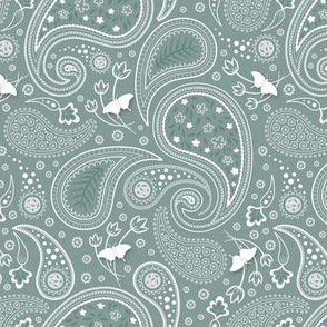 Paisley with butterflies Grey green