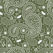 Paisley with butterflies Olive green