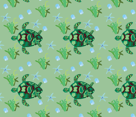 Turtle Sea Pattern fabric by agille on Spoonflower - custom fabric