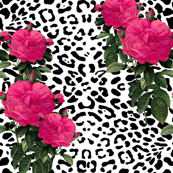 Leopard With Hot Pink Redoute Roses Large