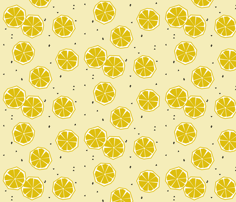 Lemon - geometric lemon slice citrus tropical summer pale yellow fabric by sunny_afternoon on Spoonflower - custom fabric