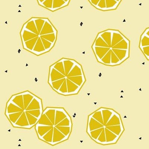 Lemon - geometric lemon slice citrus tropical summer pale yellow